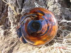 metallic brown pottery ring bowl or candle holder by VilettaLuna, $12.00