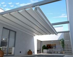 Retractable wall to wall (no posts) waterPROOF (not waterRESISTANT) patio and deck cover system. Visit the link below for complete information: http://www.retractableawnings.com/patio-cover-awnings/rimini.html More