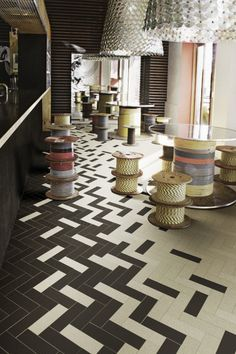 Product lead time and availability may vary depending on location. Please contact your local Virginia Tile for further information. Chevron Tile, Herringbone Tile, Floor Patterns, Tile Patterns, Floor Design, Tile Design, Modern Flooring, Cafe Interior Design, Retail Design