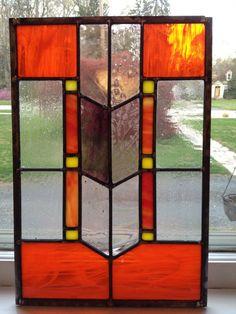 Southwestern & ArtDeco Stained Glass Panel by StainedGlassbyAlicia, $185.00 11 x 17