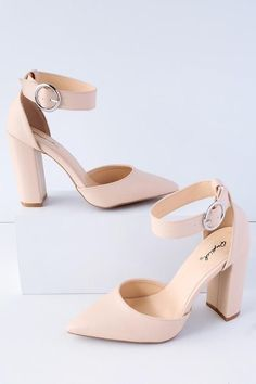 The Yancy Nude Ankle Strap Heels will keep you looking classy and cool! Sleek vegan leather forms a pointed toe upper and matching adjustable ankle strap with a large, round, silver buckle. Cute Heels, Lace Up Heels, Ankle Strap Heels, Ankle Straps, Pumps Heels, Stiletto Heels, High Heels, Classy Heels, Prom Heels