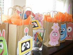 Use neutral bags with print out and coordinating tissue paper
