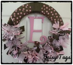 Baby Girl Ribbon Wreath in Chocolate Brown & Pinks by DaisyTags, $68.00