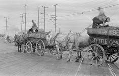 Loaded Coal Teams near Spokane Street Bridge, 1919.