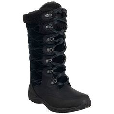 Timberland Women's Willwood Snow Boot ($170) ❤ liked on Polyvore featuring shoes, boots, black, snow boots, black boots, timberland boots, black leather shoes and leather lace up boots