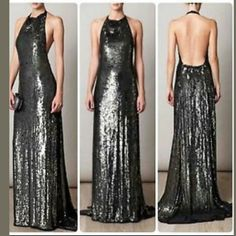 """DVF Gunmetal  Sequin Crista Gown size 8 NWOT This gown is breath taking.  Floor length with a tail that puddles.. it has side slits for easy walking.. never worn. Just tried on. It has cutaway shoulders . A deep scoop back with a halter neck fastening strap..fits true to size 8. Featured in Sarasota magazine. $2309.. sold out !! (Gray almost black sequins) Price Firm- No Trades. MEASURES -SHOULDER TO FRONT HEM APPROX 64""""  -  CHEST IS APPROX 15"""" FLAT ACROSS-SIDE SLITS ARE 37"""" LONG- IT'S VERY…"""