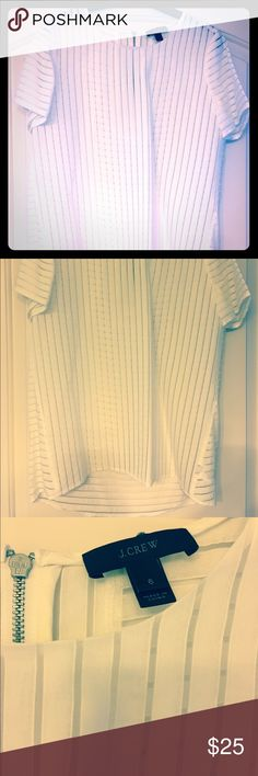 Jcrew Sheer Stripe Blouse Ivory sheer strip Blouse J. Crew Tops Blouses