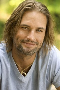 Josh Holloway from Lost. Oh my goodness. Male actor, cute, beard, steaming hot, sexy eyes, intense, strong image, long hair style, hot-hot-hot, eye candy, love him, portrait, photo b/w.