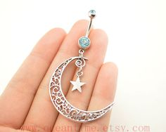belly ring,belly button jewelry,moon and star belly button rings,hallow moon navel ring,piercing belly ring,friendship piercing bellyring on Etsy, $6.99