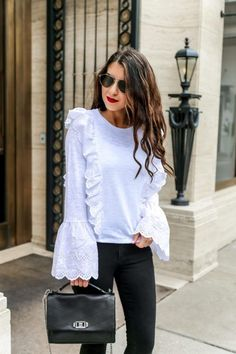 Eyelet Tee for Spring. Black and White Outfit Ideas. Black and White Outfit inspiration. Black and White Spring Outfits. Black and White Summer Outfits. Black and White Fall Outfits. Black and White Winter Outfits.