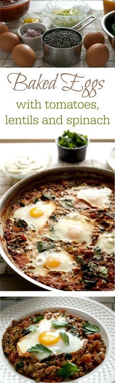 Baked eggs in tomatoes, lentils and spinach with whipped goat cheese breakfast recipe.