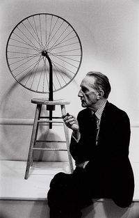 "Marcel Duchamp ""The wheel"" 1913; The Bicycle Wheel, is the first of Duchamp's readymades, most of Duchamp's readymades were individual objects that he repositioned or signed and called art, the Bicycle Wheel on the other hand is what he called an ""assisted readymade,"" made by combining more than one utilitarian item to form a work of art."