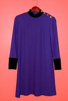 Vintage Dress 80s Mod Purple Wool EvanPicone by PinkCheetahVintage, $36.00