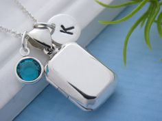 Solid Sterling silver Locket Necklace Rectangle Locket by MonyArt, $37.80 would like with a peridot
