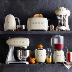 Shop Williams Sonoma for the latest Smeg kitchen appliances. Our collection includes Smeg toasters, Smeg refrigerators, Smeg juicers and Smeg kettles. Smeg Kitchen, Kitchen Dining, Kitchen Decor, Kitchen Appliances, Small Appliances, Modern Bathroom Decor, Küchen Design, Kitchen Essentials, Kitchen Accessories