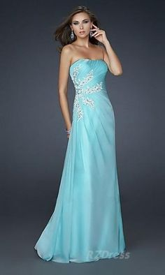 light blue beaded strapless winter formal.. i LOVE this!