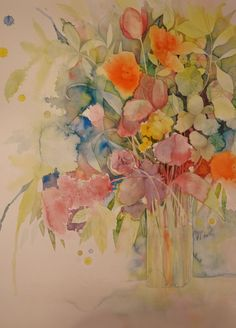 Spring bouquet / 300 grs paper / by Kira M. Spring Bouquet, Neko, Watercolors, Still Life, Abstract, Paper, Painting, Water Colors, Pintura