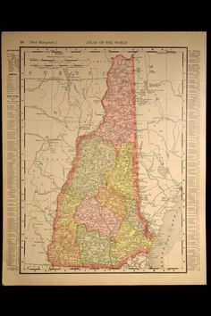 Antique Map New Hampshire Early 1900s State Original 1906