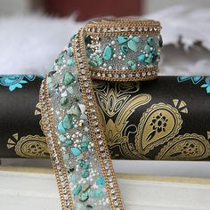Diy Wedding dress accessories fabric applique patches Crystal Rhinestone Pearl Beaded Lace Trim Iron on or Sew on Width Blue Beads, Pearl Beads, Stone Beads, Crystal Beads, Crystal Rhinestone, Rhinestone Wedding, Beaded Trim, Beaded Lace, Beaded Embroidery