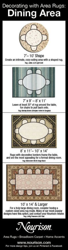 What Size Area Rug do you Need for Your Dining Area? Part of Nourison's Decorating with Area Rugs series. For more interior design tips, join us on Facebook and Pinterest.