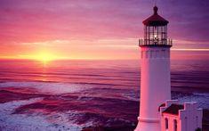 Sonnenuntergang Meer Leuchtturm Hintergrundbilder - 1920x1200