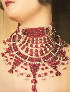 Ruby, pearl, and diamond necklace created for a Maharani by Cartier, 1930. jewelry-art
