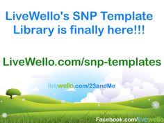 The SNP Template Library is for Livewello 23andMe Gene Variance App users:  https://livewello.com/snp-template  Auto generate your results for up to 297,000 SNPs in your 23andMe Raw Data To become a user get the App at: https://livewello.com/23andMe