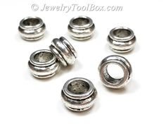 Silver Pewter Rondelle Beads, Large 7mm hole, 7x12mm, Antique Silver Finish, Lead Free, Lot Size 6 to 30,  #1231