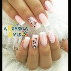 Pink and white clear pink acrylic with rhinestone and flower details and accent nails Acrylic Gel Nails - Summer Fall Nail Designs - Cute Fingernail Art Ideas Love Nails, Pink Nails, My Nails, Gel Nail Art, Acrylic Nails, Nail Polish, Manicure E Pedicure, Elegant Nails, Super Nails
