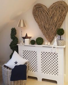 Create a feature if your radiator cover ! Extra large wicker heart in stock now. Hallway Colours, Flur Design, Hallway Designs, Radiator Cover, Beautiful Interior Design, Cabinet Decor, Hallway Decorating, Home And Living, Decoration