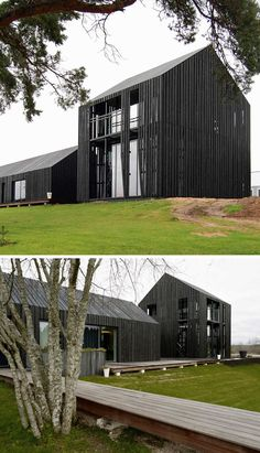 House Exterior Colors – 14 Modern Black Houses From Around The World | Eight black buildings surrounding concrete courtyard make up this family home.