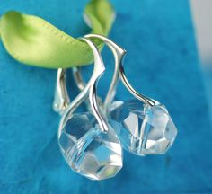 Faceted Clear Quartz Sterling Silver Lever Back Earrings by art4ear, $45.00