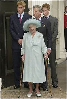 The Queen Mother with grandson, Prince Charles and great-grandsons, William and Harry.