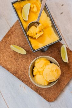 Mango, Lime and Cream Cheese Sherbet | http://mycaliforniaroots.com/mango-lime-cream-cheese-sherbet/