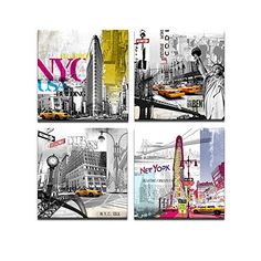 New York Canvas Prints ,Modern Paintings, American Impression Famous Architecture in the USA Wall Decor Canvas Prints, 12x12inchesx4 Canvas Wall Art Visual Art http://www.amazon.com/dp/B00NGJEUWG/ref=cm_sw_r_pi_dp_8edNwb0HAY3RQ