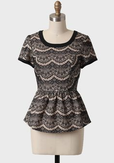 $39.99 Rendezvous Lace Peplum Blouse   Modern Vintage New Arrivals  http://shopruche.com/rendezvous-lace-peplum-blouse.html