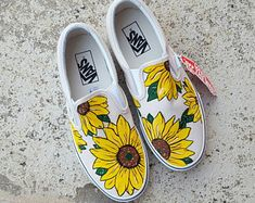 Custom Sunflower Vans Shoes | Hand Painted Shoes | Gifts for Her | Floral Painting | Slip On Vans | Custom Shoes | Shoes for Women