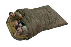Mammoth 0°F Two Person Sleeping Bag-FAMILY STOREHOUSE- Multi–season sleeping bag. Durable two–way zippers, thick taffeta shell, flannel lining, mummy–style hood. Includes stuff sack with compression straps. Lifetime guarantee. Double–wide quilted sleeping bag has cushioning around zipper and shoulder to keeps drafts out and offset seams to distribute fill evenly and eliminate chilly spots. Drawstring hood and warm flannel lining retains body heat