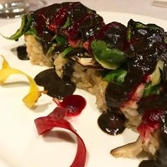 Black Volcano 2.0....spicy tofu and avocado roll brussel sprouts shiitake mushroom and green chili mixed with ginger served with spicy red beet sauce and black sesame sauce from @shojinlove last night celebrating our anniversary excellent food and service! Will be back soon! #vegansushi #dtla #nofish