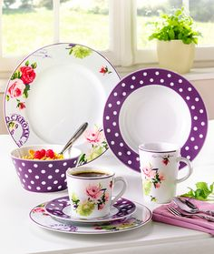 I can do without the florals, but i LOVE the purple polka dot dishes! Red Plates, Plates And Bowls, Royal Copenhagen, Tea Cup Saucer, Tea Cups, Beautiful Home Gardens, Everyday Dishes, China Sets, Shops