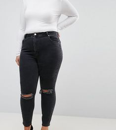 ASOS CURVE Super High Rise Firm Skinny Jeans with Busted Knees in Wash