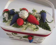 VTG Wicker Basket Purse Velvet Strawberries Flowers Spring Summer Garden Party  #Handmade #Baguette #ShabbyChic mother's day #MothersDay (also available @ www.lechicdame.com)