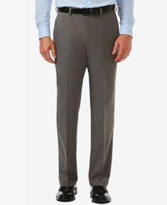 Haggar Men's Classic-Fit Cool 18 Pro Heathered Hidden Extension Pants - Gray 34x32