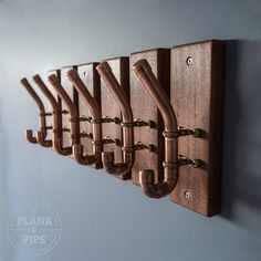 COPPER & AFRICAN SAPELE COAT HOOKS: In a Polished & Lacquered finish.  This listing is for 1 Copper & African Sapele coat hook. Please use the drop down menu to select the required amount when ordering. There are discounts for multiple purchases.   These handmade Coat hooks are made using 15mm copper pipe and planks of African Sapele timber. Each copper joint is professionally soldered making it a strong and one solid piece. The African Sapele wood has been sealed with Oil and is ...