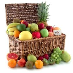 Paradise Tropical Fruit, Nuts and Cheese Basket: It's a feast in paradise, complete with lots of fruit varieties, 2 artisan cheeses and assorted nuts. Fruit And Veg, Fruits And Vegetables, Fresh Fruit, Fruit Gifts, Food Gifts, Cheese Baskets, Assorted Nuts, Artisan Cheese, Taste The Rainbow