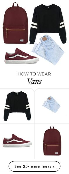"""school is cool"" by madinnmichelle on Polyvore featuring Vans and Herschel Supply Co."