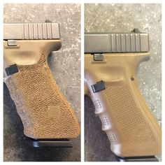 Glock stippling before and after Glock Stippling, Glock Mods, Pistol Annies, Custom Glock, Gun Storage, Guns And Ammo, Firearms, Hand Guns, Kydex