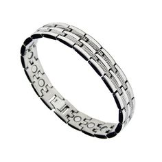 Mens Magnetic Titanium Therapy Golf Bracelet 75 -- Check this awesome product by going to the link at the image. Silver Bracelets, Bracelets For Men, Link Bracelets, Beaded Bracelets, Health Bracelet, Titanium Metal, Bracelets With Meaning, Copper Cuff, Jewelry Watches