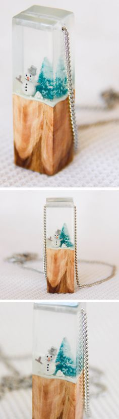 Winter/Snowman (Glow in the dark), Clear Resin & Wood Pendant Necklace - perfect gift for lovers of a White Christmas in the Northern hemisphere. Cute quirky whimsical Christmas gifts for her or for him from Australian designers on Etsy.