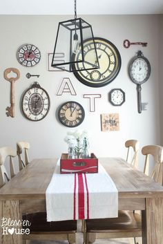 Decorate wall with clocks